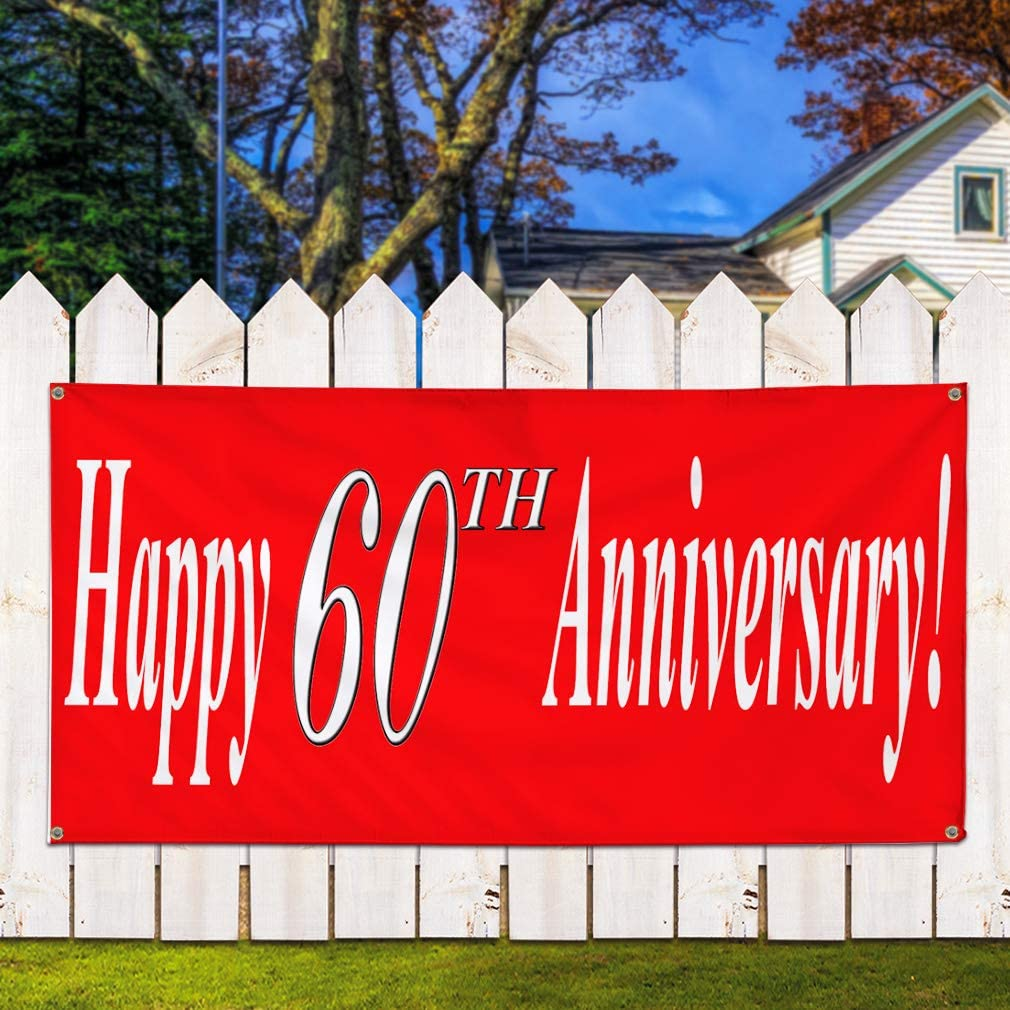 8 Grommets Vinyl Banner Sign Happy 60th Anniversary Red White Style2 Marketing Advertising Red Multiple Sizes Available One Banner 44inx110in