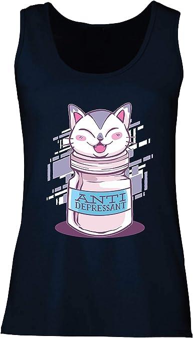 lepni.me Camisetas sin Mangas para Mujer Gato Positivo Antidepresivo Gatito Divertido Amante de los Gatos: Amazon.es: Ropa y accesorios