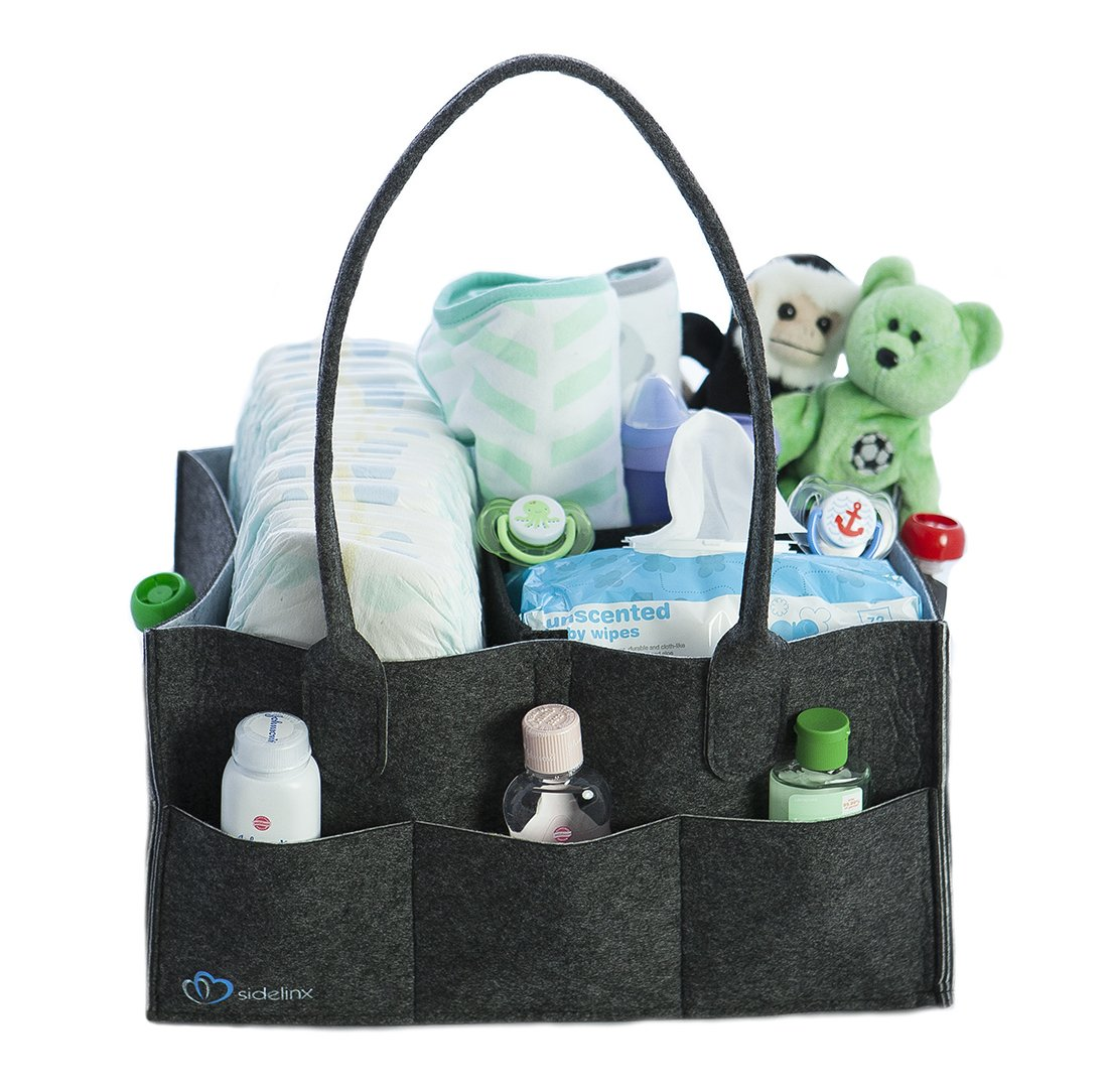 Baby Diaper Caddy Organizer - Storage Bin for Diapers, Wipes and Kid Toys - Baby Shower Gift Basket - Nursery Bag for Boys or Girls - Large Portable Car Travel Tote - Newborn Registry Essential Sidelinx