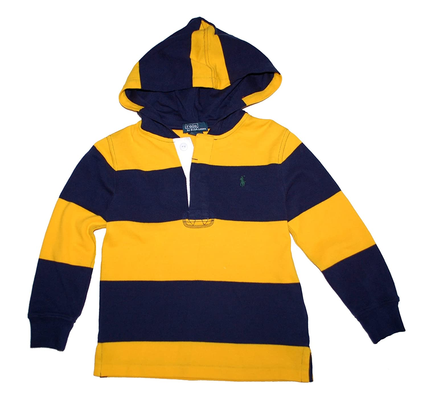 Ralph Lauren Polo Boys Rugby Stripe Mesh Hoodie Pullover 2 2T