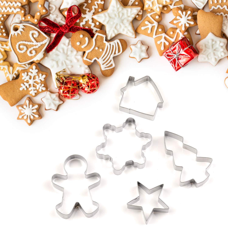15 Pezzi Formine Natale EKKONG Stampi Biscotti Natale Tagliabiscotti di Natale Biscotti Bakeware Fondente Torta Paletta Sandwich Tagliapasta Set Acciaio Inossidabil