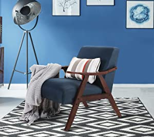 Sophia & William Accent Chair Mid-Century Living Room Chair Upholstered Padded Linen Armchair Modern Furniture with Solid Wood for Home Bedroom, Navy Blue