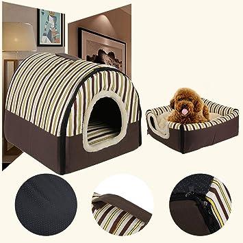 Ironheel portátil Plegable hundewelpen de Gato de casa de caseta Nest Suave Cama con Matte para