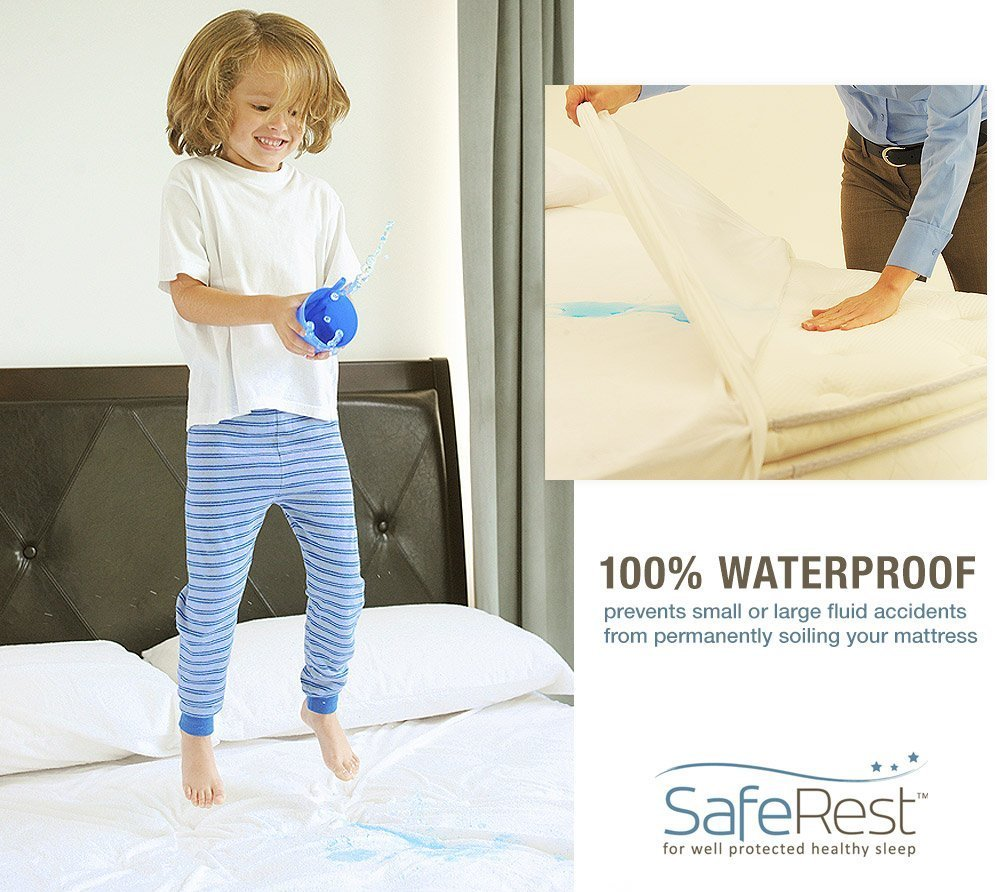 Full Size SafeRest Classic Waterproof Lab Certified Bed Bug Proof Zippered Mattress Encasement (Fits 6 - 9 in. H) - Designed For Bed Bug, Dust Mite and Fluid Protection