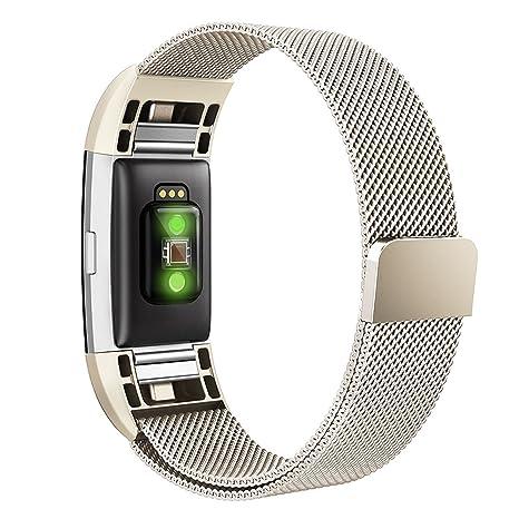 Simpeak Compatible Fitbit Charge 2 Correa (6.7-9.0 Pulgadas), Milanese Loop Correa de Acero Inoxidable Reemplazo Wristband Pulseras Bandas Fitbit ...