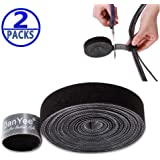 Reusable Ethernet Cable Wire Straps DanYee 2 Roll Cable Ties Hook & Loop Nylon Fastening Tape Wire 3M Adjustable Wire Organizer Cord Rope Holder for Computer Cable Management (Black-3M(2 Roll))