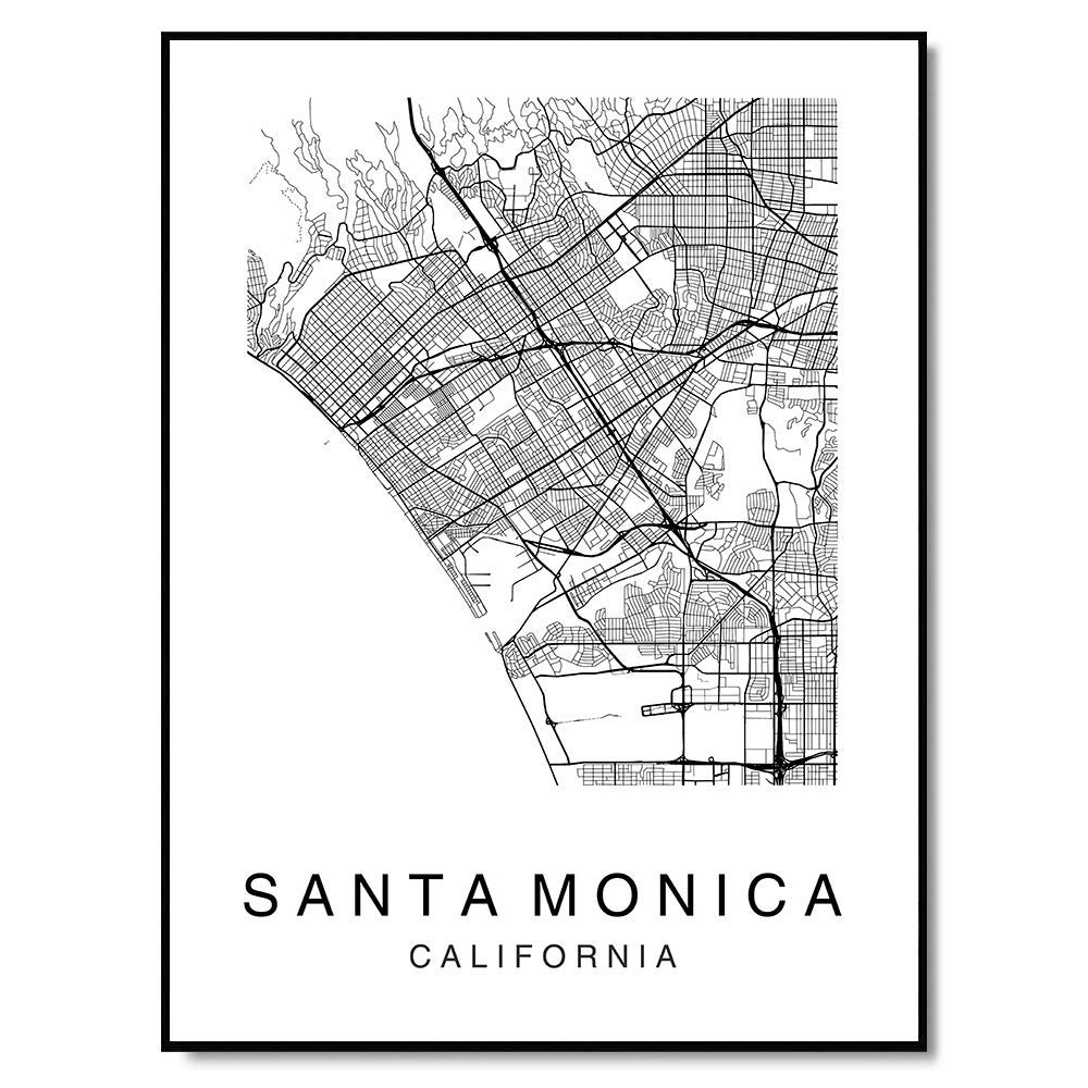 Amazon.com: Santa Monica Map Wall Art Poster Print ... on westwood santa monica map, hotel santa monica map, santa monica tourist map, 7984 santa monica blvd map, santa monica street parking, ucla santa monica map,
