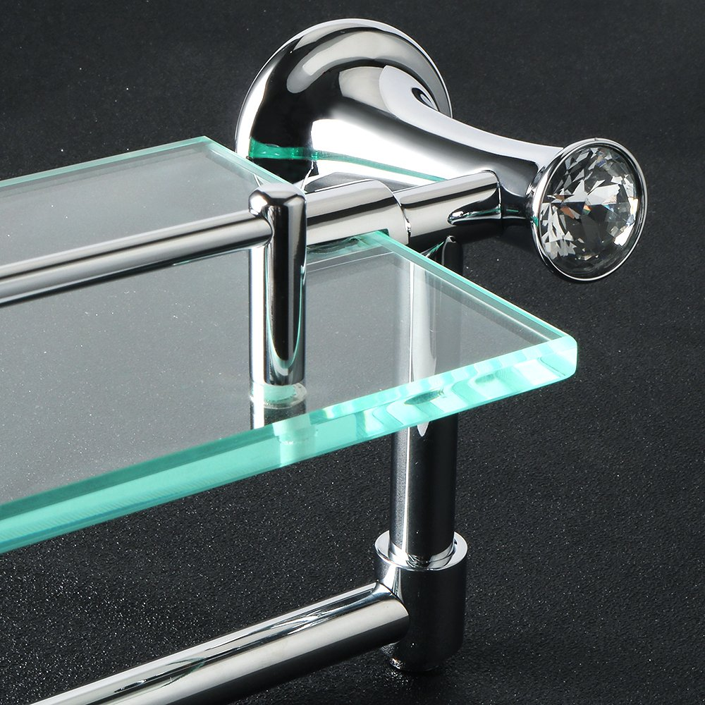 Amazon.com: Alise GY8000 Glass Shelf Bathroom Shelves with Towel Bar ...