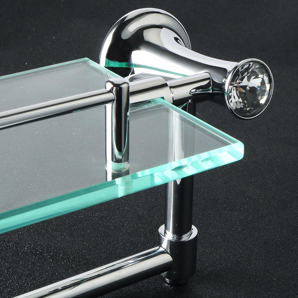 Alise GY8000 Glass Shelf Bathroom Shelves with Towel Bar Wall Mount,Chrome Finish