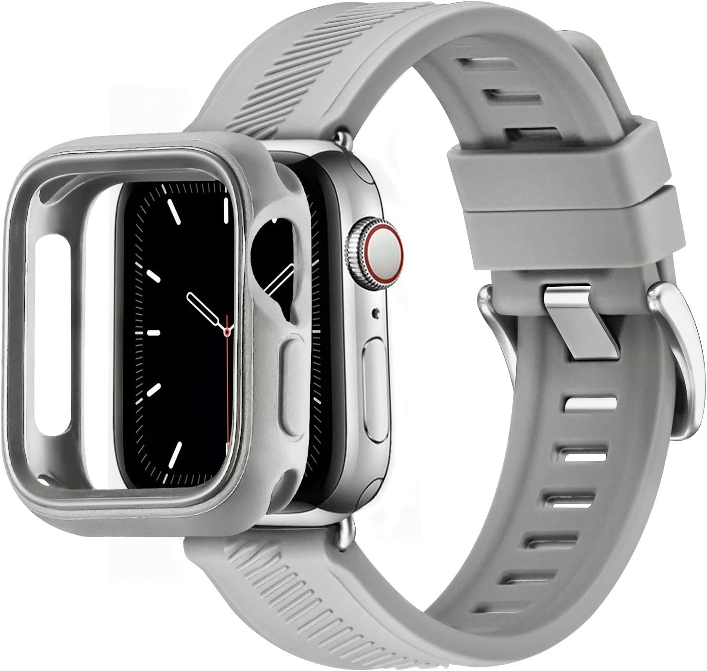 BesBand Compatible with Apple Watch Bands 44mm 42mm 40mm 38mm, Soft Silicone Waterproof Sport Band Loop with Protective Case for iWatch Series 6/5/4/3/2/1&SE (Dark Gray/Silver, 42mm/44mm)