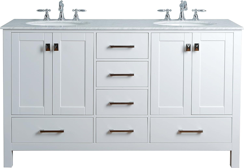 ELITE Bathroom Long Rectangle Thick White Porcelain Ceramic Vessel Sink Chrome Pop Up Drain