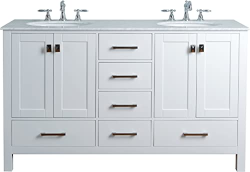 Stufurhome GM-6412-60PW-CR 60-Inch Malibu Pure White Double Sink Bathroom Vanity