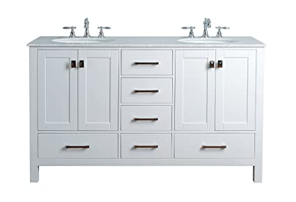 60 double sink bathroom vanity. Stufurhome GM 6412 60PW CR 60 Inch Malibu Pure White Double Sink