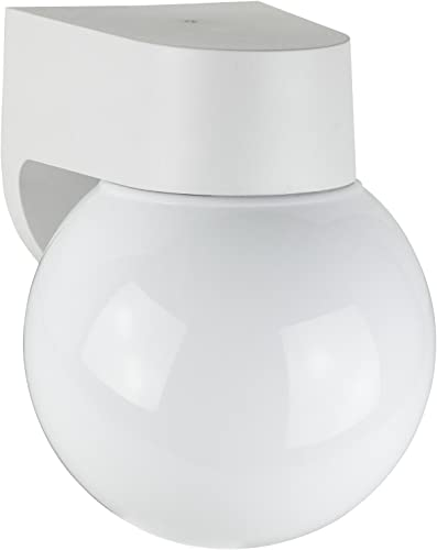 Sunlite ODF1010 7-Inch On Off Fluorescent Wall Mount Globe Outdoor Fixture with Lamp White Finish with White Glass