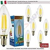 SunSeed, Garantie de deux ans, 6 X E14 4W Ampoule Flamme à Filament LED en Saphir C35 AC22-240V Blanc Chaud 2700K 400 Lumens 300° Alimentation IC Sans Scintillement Led Vintage Led Classic Led Edison Led