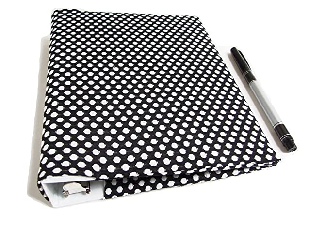 amazon com mini binder cover in black and white dots stretch