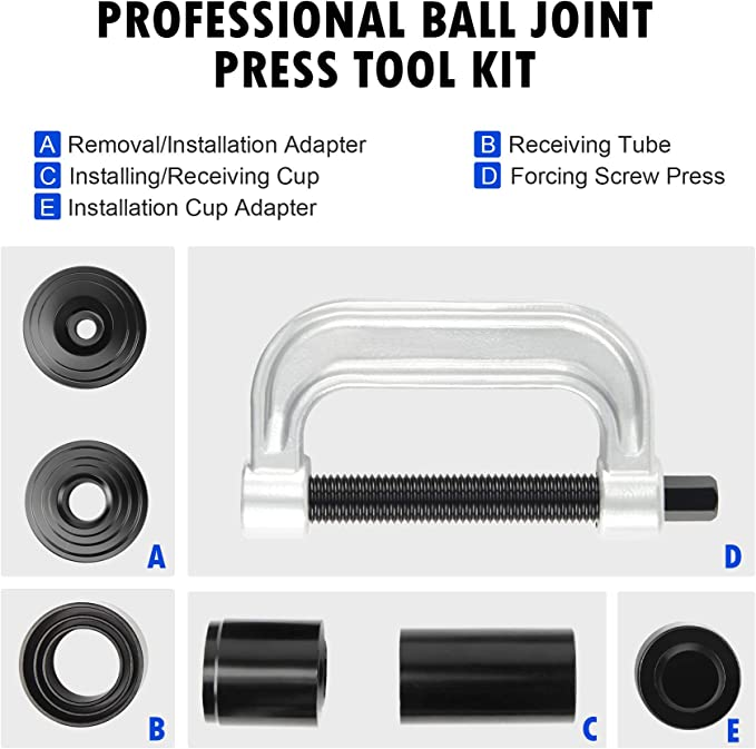 Auto Press U Joint Removal Tool GOTOTOP 4 in 1 Ball Joint Service Kit 4WD Vehicle Brake Anchor Pin Remover Installer 9 Piece Set for Most Cars and Light Trucks