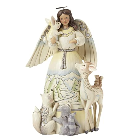Jim Shore Heartwood Creek White Woodland Angel with Animals Stone Resin Figurine, 9.5