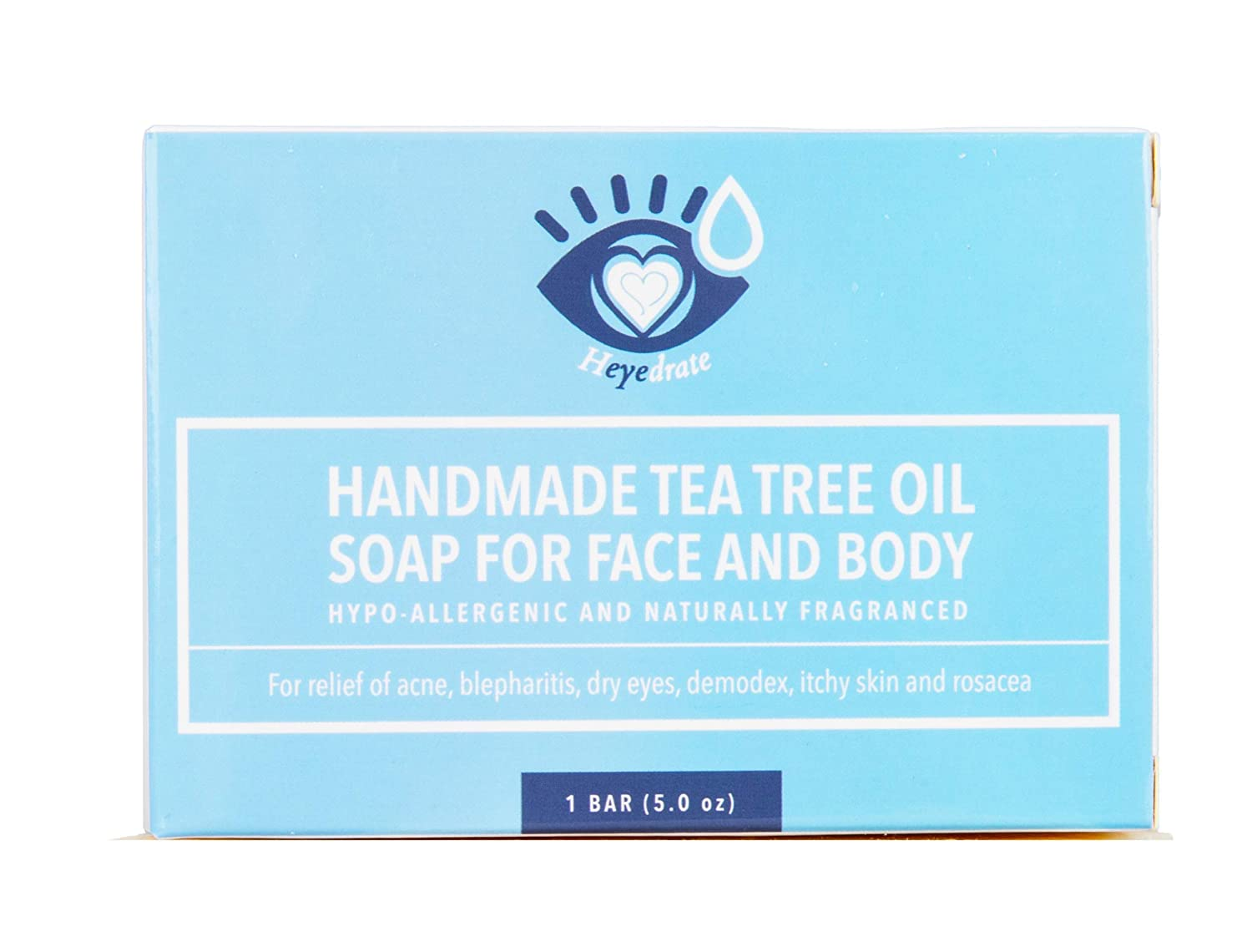 Tea Tree Oil Face Soap and Eyelid Scrub for Support of Eyelid Irritation, Itchy Skin, Flaky Skin, and Dryness, Handmade with Organic Ingredients (1 Pack) [Packaging May Vary]: Health & Personal Care