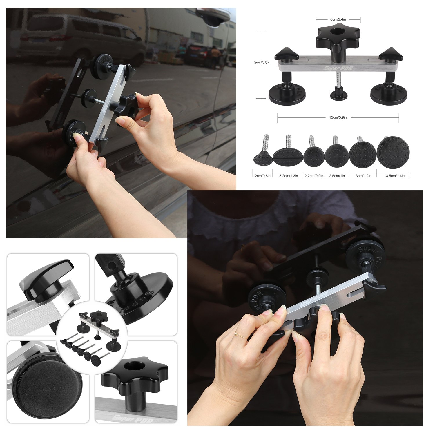Fly5D 22Pcs Automotive No-scratch Paintless Dent Repair Kit Upgraded Dent Removal Bridge Puller kit by Fly5D (Image #2)