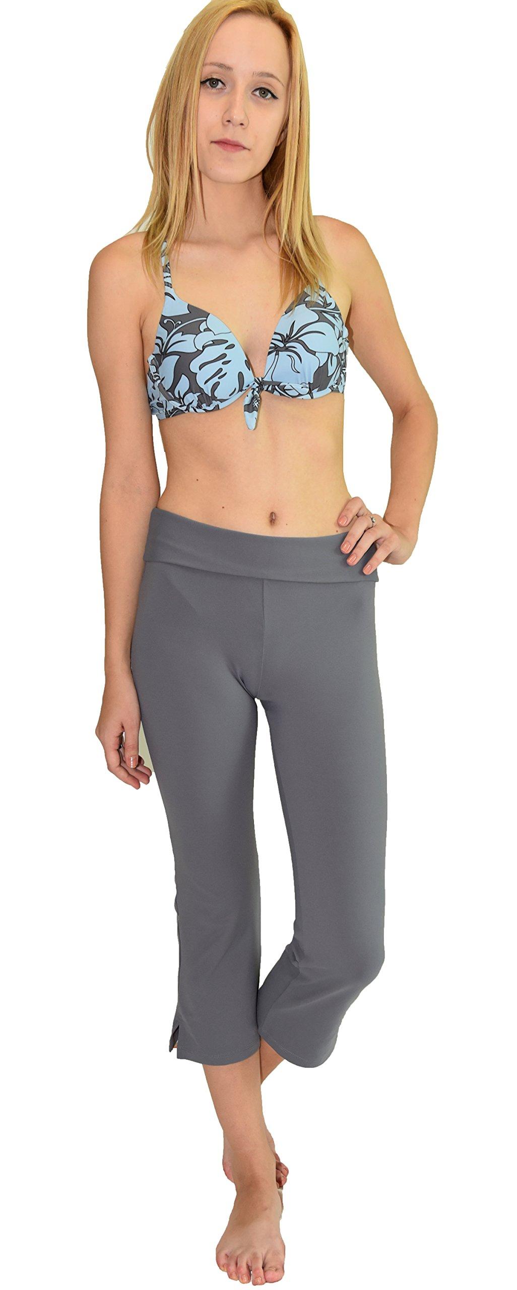 Private Island Women UV Swim Rash Guard Capri Bootcut Pants Yoga (XXXL, Grey) by Private Island