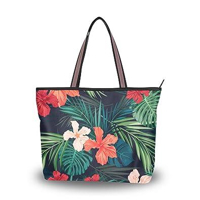 32ee49720790 Amazon.com: WIHVE Watercolor Tropical Hawaii Flowers Monstera Palm ...