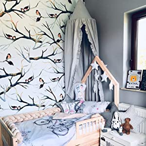HEDGFOX Kids Bed Canopy with Frills Cotton Hanging Mosquito Net for Baby Crib Reading Nook Castle Dome Game Tent Nursery Play Room Decor (Grey)
