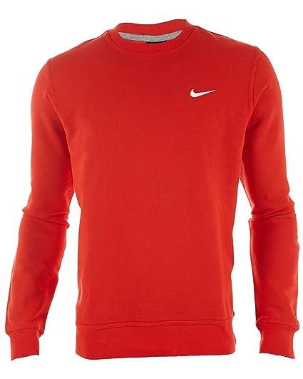 287db5919 Nike Men's Classic Club Fleece Crew Sweatshirt-Red/White-Large