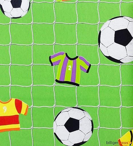 Papel de Pared Rasch Verde con Red y Balones de Fútbol 471700 ...