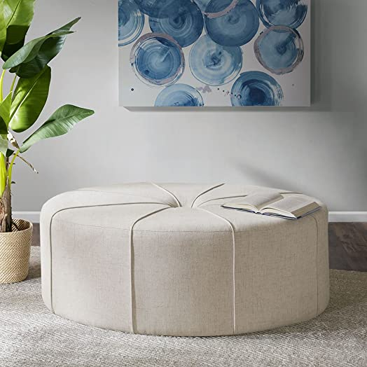 Madison Park Ferris Coffee Table Oval – Solid Wood, Polyester Fabric Large Cocktail Ottoman Modern Style, Button Tufted Center, Sun Flower, 48.5 Wide, Cream