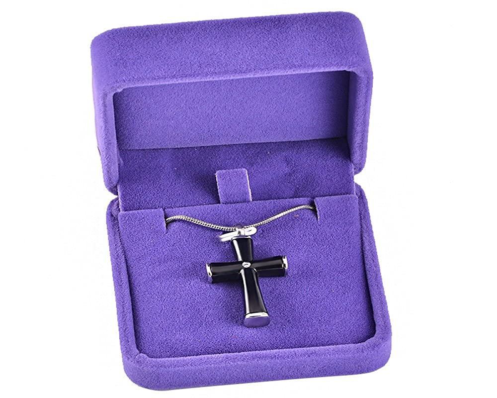 Black Casket Etcetera Cross Cremation Pendant Urn Necklace Cremation Jewelry