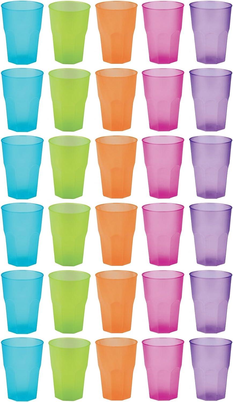 idea-station Vasos de plástico reutilizable 350 ml 30 piezas, transparente o de color de colores, utilizables como apilar vasos de agua, vasos de whisky, vasos de cóctel, vasos de fiesta, vaso de plás