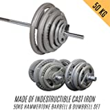 HCE 50kg Adjustable Standard Hammertone Barbell & Dumbbells Set Professional Grade Bars and Cast Iron Weight Plates Home & Gym Training Equipment Powerful Body Workout, CrossFit, MMA, Fitness, Bench Press, Bodybuilding, Weightlifting