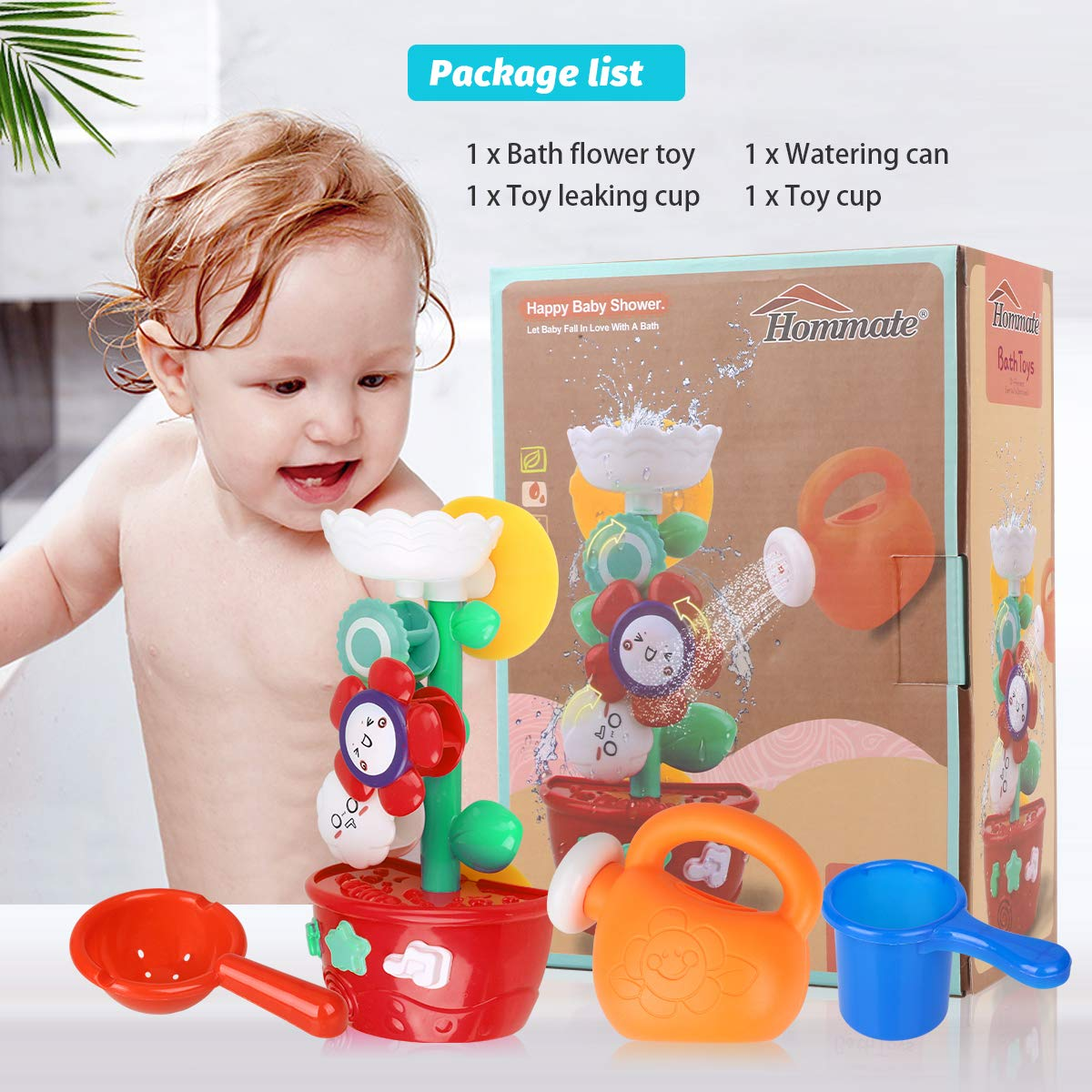 Bath Toys Toddlers Bathtub Toy Flower Bath Toy for Babies Kids 1 2 3 Year Old Girls Boys Bath Wall Toy 1 Mini Sprinkler 2 Toys Cups Fill Flow and Spin with Strong Suction Cups Color Box Gift Ideal