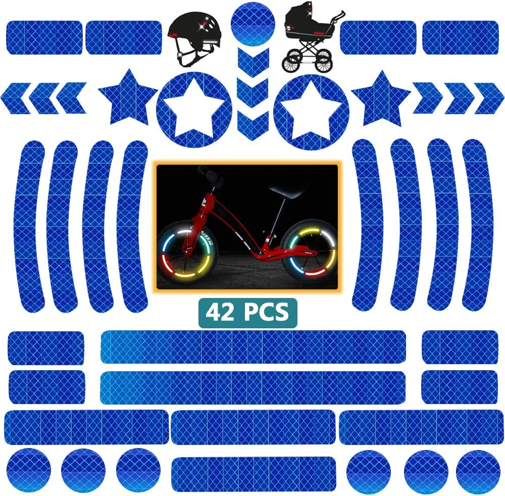 DZSEE Pegatinas Reflectantes, Pegatinas para Cascos de Moto, 42 Piezas Pegatinas Reflectantes Kit, Adhesivo Universal para Bicicleta/Cochecito/Casco/Moto/Motocicleta, Visibilidad de Noche (Azul)