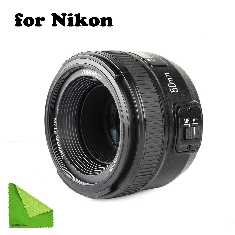YONGNUO YN EF 50mm f/1.8 AF Lens YN50 Aperture Auto Focus for Nikon Cameras as AF-S 50mm 1.8G with EACHSHOT Cleaning Cloth by EACHSHOT