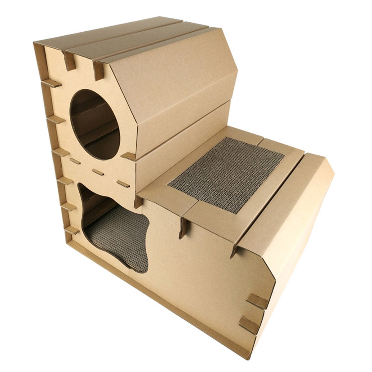 AYADA Cardboard Two Story Cat House Scratcher Bed Cave Nest Lounge, 2 Floors Cat Kitten Corrugated Cardboard Scratch Pad Durable Eco-friendly Pet Indoor Condo Lounger Activity Center