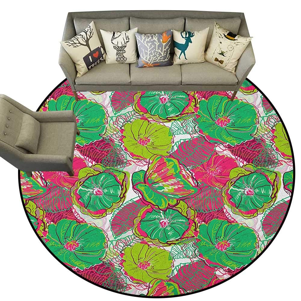 Style11 Diameter 72(inch& xFF09; Floral,Personalized Floor mats Tropical Blooms Botanical Themed Exotic Petals Beauty Feminine Floral Composition D54 Floor Mat Entrance Doormat