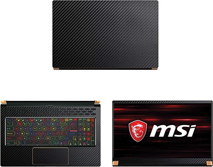 "Decalrus - Protective Decal for MSI GS75 Stealth (17.3"" Screen) Laptop Black Carbon Fiber Skin case Cover wrap CFmsiGS75_17Black"