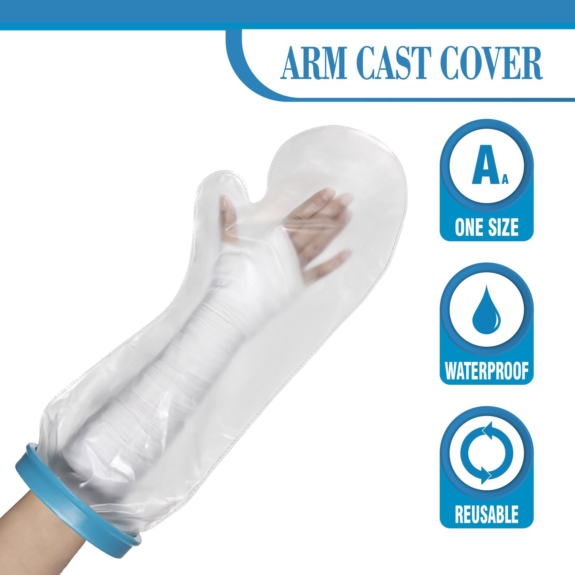 Wilsco Waterproof Arm Cast Cover for Shower ~ Keep Bandages & Casts Dry in The Shower, Pool, Ocean ~ Fully Submersible + Reusable ~ Keep Sand Out ~ Keep New Tattoos Covered