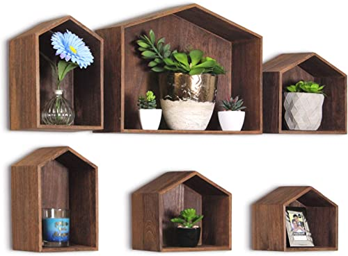Ikee Design Wooden House-Shaped Wall Storage Shelf Hanging Rack, Set of 6