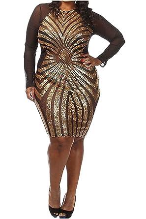 Amazon Mock Womens Plus Size Dress Trophy Sequin Bodycon
