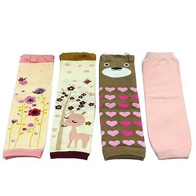 Allydrew Footless Leg Warmers Footless Leggings for Babies and Toddlers - Flora, Deer, Brown Bear, Solid Pink (4 pack)