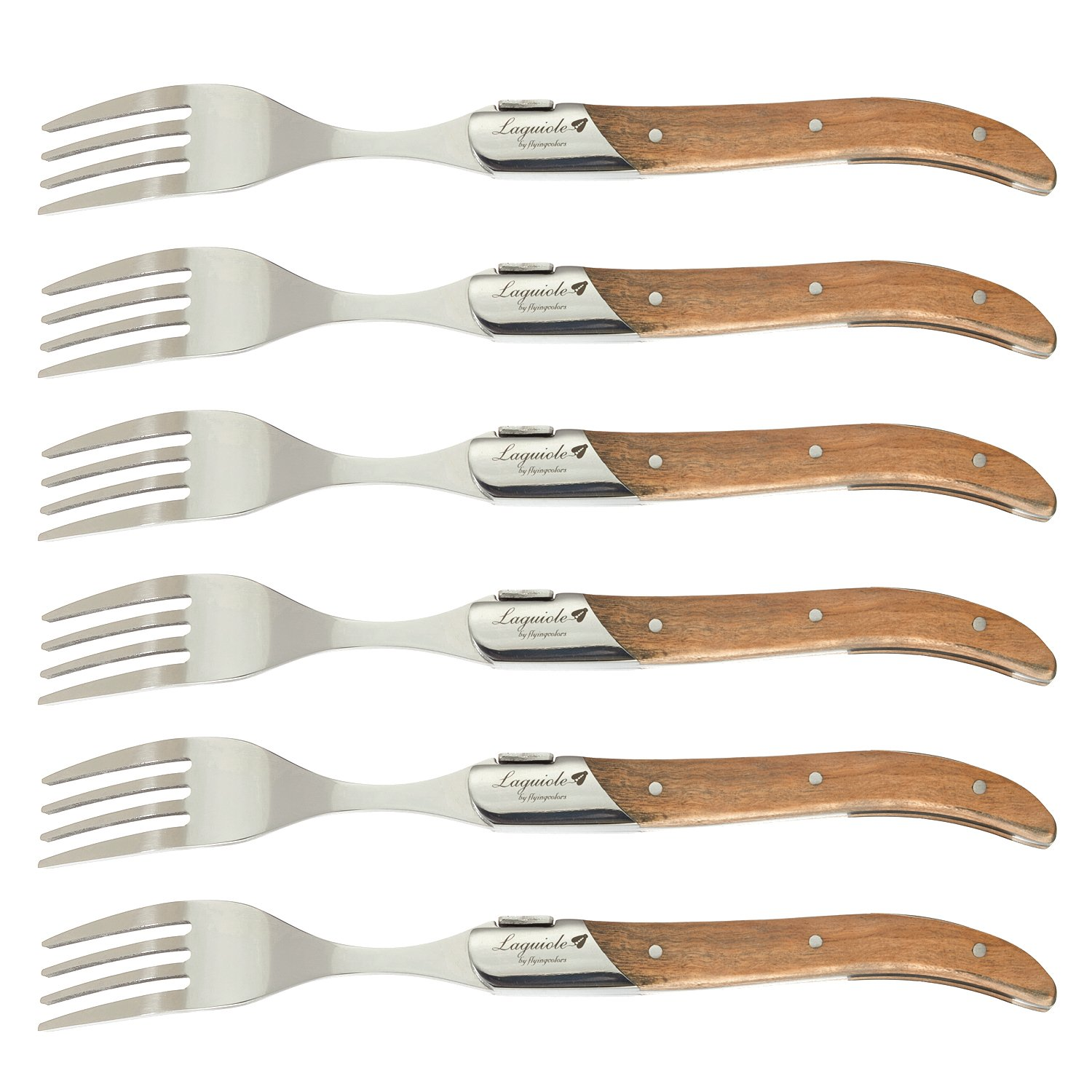 FlyingColors Laguiole Stainless Steel Fork Set, Olive Wood Handle, Gift Box, 6 Pieces