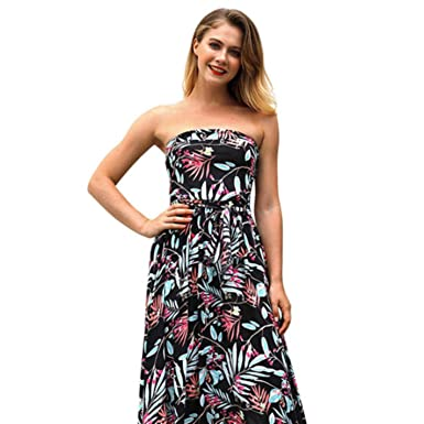 39e0285a821 Amazon.com  Sexy Sleeveless Backless Long Bow Floral Printed Dress Tube Top  Womens  Clothing