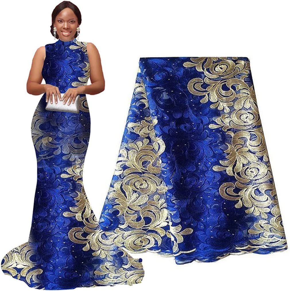 Gold Blue Sewing Crafts High Quality African Lace Fabric Bridal Embroidery Nigerian Style Cord Lace Guipure Lace Fabric Wedding Dresses Mesh
