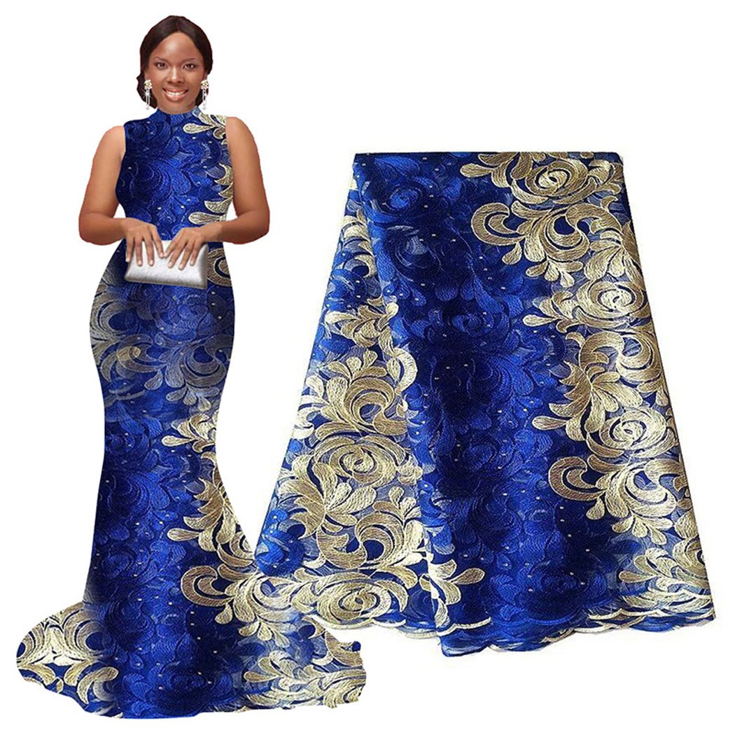pqdaysun African Lace Fabric 5 yards 2019 Nigerian Lace French Lace Fabric Embroidered and Rhinestones Guipure Cord Lace(blue and cream)
