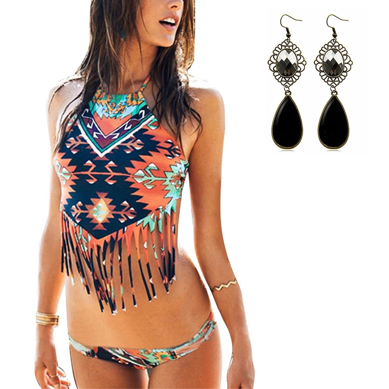 09909491d62 Sitengle Para Mujer Bañador Traje de Baño Multicolor Push Up Atractivo  Bikinis Halter Conjuntos Ropa de