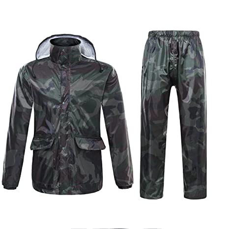 ffe5c70650f4 Freiesoldaten Men Women Waterproof Jacket Trouser Suits Windproof Coat Pants  Set Motorcycle Raincoat with Hideaway Hood  Amazon.co.uk  Sports   Outdoors