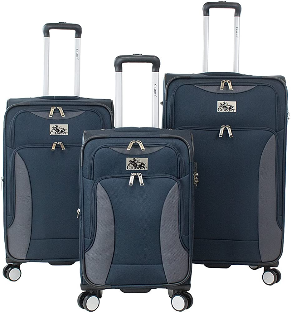 Navy//Grey Chariot Madrid 3 Piece Expandable Spinner Luggage Set